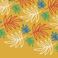 ilustração de folhas coloridas (azul, vermelha, verde e branca) sobre fundo chapado amarelo ocre.